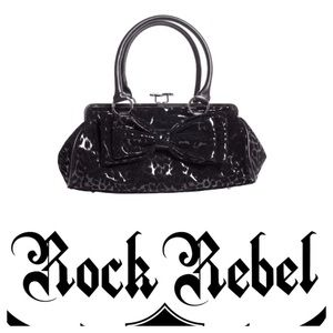 Rock Rebel Black Leopard Kiss Lock Hand Bag